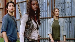 The Walking Dead: Steven Yeun, Lauren Cohan e 	Danai Gurira nell'episodio 6x15 Il cerchio