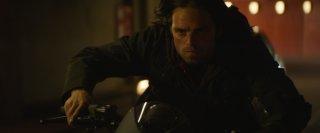 Captain America: Civil War - Sebastian Stan in moto in un momento del film