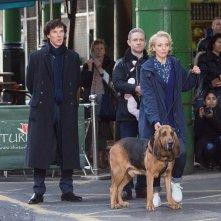 Sherlock: Benedict Cumberbatch, Amanda Abbington e Martin Freeman sul set di Londra