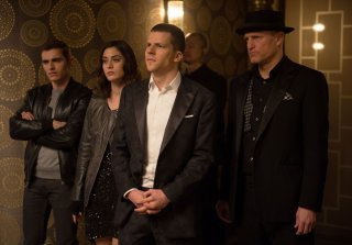 Now You See Me 2: Dave Franco, Woody Harrelson, Lizzy Caplan e Jesse Eisenberg in una scena del film