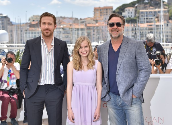 The Nice Guys: Russell Crowe, Ryan Gosling e Angourie Rice durante il phtocall