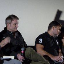 The Nice Guys: il regista Shane Black e Russell Crowe durante la conferenza
