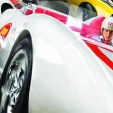 Speed Racer: Emile Hirsch in un momento d'azione del film