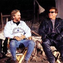 James Cameron e Arnold Schwarznegger sul set di Terminator 2