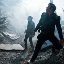 Star Trek Beyond: Anton Yelchin e Chris Pine in un'inquadratura del film