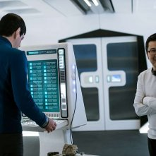 Star Trek Beyond: Zachary Quinto con il regista Justin Lin sul set