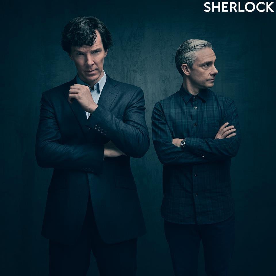 Sherlock: Benedict Cumberbatch e Martin Freeman in una prima immagine promozionale della quarta stagione