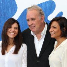 Venezia 2016:Maddalena Oliva, Michele Santoro, Micaela Farrocco al photocall di Robinù