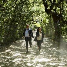 Inferno: Tom Hanks e Felicity Jones in una scena d'azione