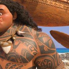 Oceania: Vaiana affronta Maui in una foto del film