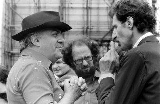Federico Fellini e Ciccio Ingrassia sul set di Amarcord