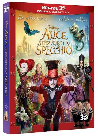la cover del blu-ray 3D e 2D di Alice attraverso lo specchio
