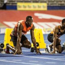 I Am Bolt: il pluricampione olimpionico prima della partenza in una delle sue gare