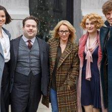 Animali Fantastici e Dove Trovarli: Katherine Waterston, Dan Fogler, J.K. Rowling, Alison Sudol ed Eddie Redmayne sul set