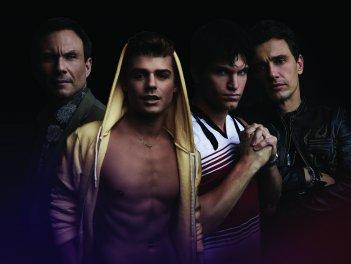 King Cobra: Garrett Clayton, Christian Slater, Keegan Allen e James Franco in un'immagine promozionale del film