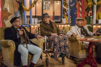 Fuga da Reuma Park: Giovanni Storti, Giacomo Poretti e Aldo Baglio in una scena del film