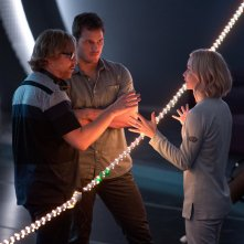Passengers: Jennifer Lawrence e Chris Pratt con il regista Morten Tyldum sul set del film