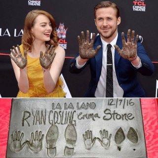 Emma Stone e Ryan Gosling e le loro impronte