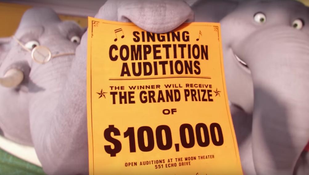 Sing: il volantino con su scritto il premio