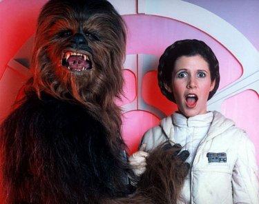 Guerre stellari: Carrie Fisher insieme a Chewbacca