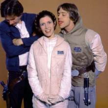 Guerre stellari: Carrie Fisher, Harrison Ford e Mark Hamill in una foto