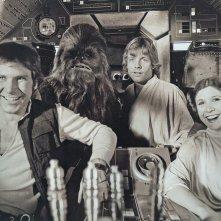 Guerre stellari: Harrison Ford, Mark Hamill e Carrie Fisher sul Millennium Falcon