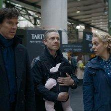 Sherlock: i protagonisti Benedict Cumberbatch, Martin Freeman e Amanda Abbington in The Six Thatchers