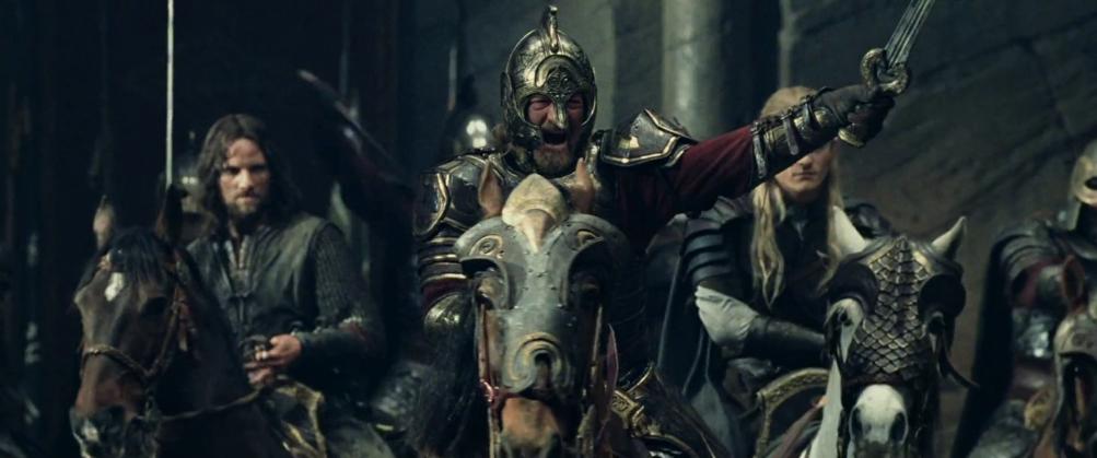 Il signore degli anelli: Le due torri, una scena con Bernard Hill e Viggo Mortensen