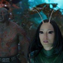 Guardiani della Galassia Vol. 2: Pom Klementieff e Dave Bautista in una scena