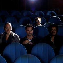 Aeffetto domino: Fabio Massa, Ivan Bacchi e Mohamed Zouaoui in un momento del film