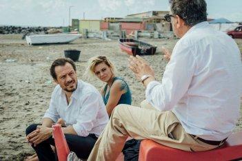 Fortunata: Stefano Accorsi, Jasmine Trinca e il regista Sergio Castellitto sul set del film