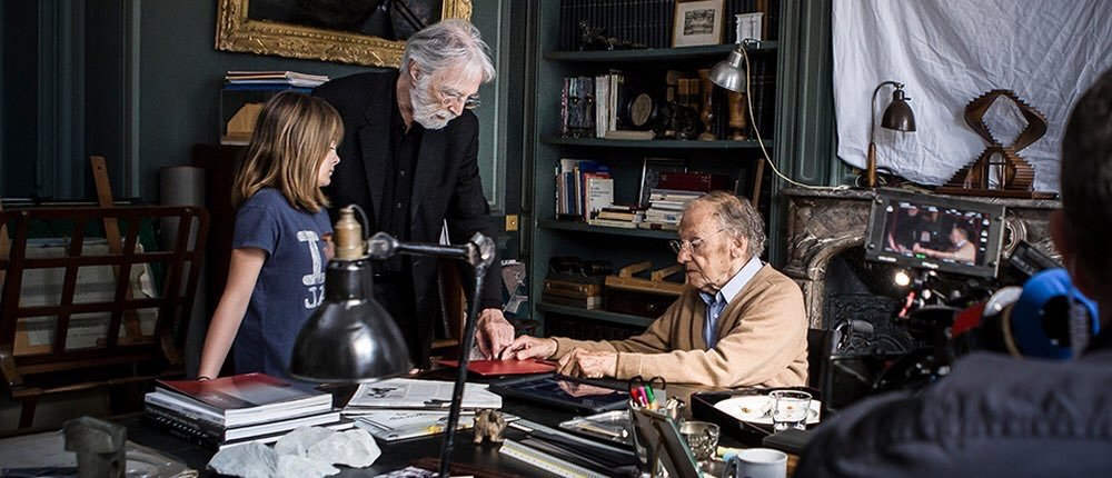 Happy End: Jean-Louis Trintignant, Michael Haneke e Fantine Harduin sul set
