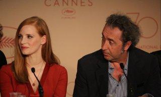 Cannes 2017: Jessica Chastain e Paolo Sorrentino durante la conferenza stampa