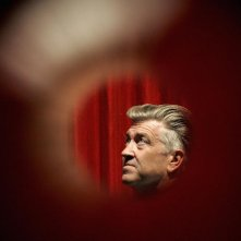 Una foto di David Lynch sul set