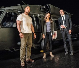 Rampage: Dwayne Johnson, Naomie Harris e Jeffrey Dean Morgan in una foto scattata sul set