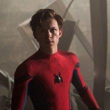 Spider-Man: Homecoming, Tom Holland in una scena del film