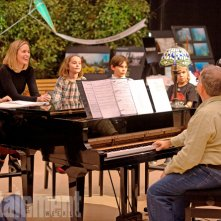 Mary Poppins Returns: Emily Blunt, Lin Manuel Miranda e Meryl Streep durante le prove per il film