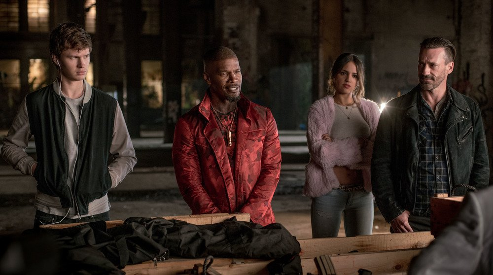 Baby Driver: Ansel Elgort, Jamie Foxx, Eiza González e Jon Hamm in una foto del film