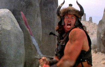 Conan il barbaro: Arnold Schwarzenegger in una scena