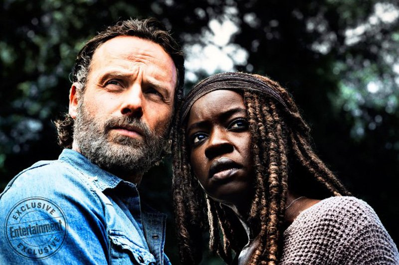 Andrew Lincoln As Rick Grimes Danai Gurira As Michonnec2A0 The Walking Dead   Season 8 Gallery Photo Credit Alan Clarke Amc 3