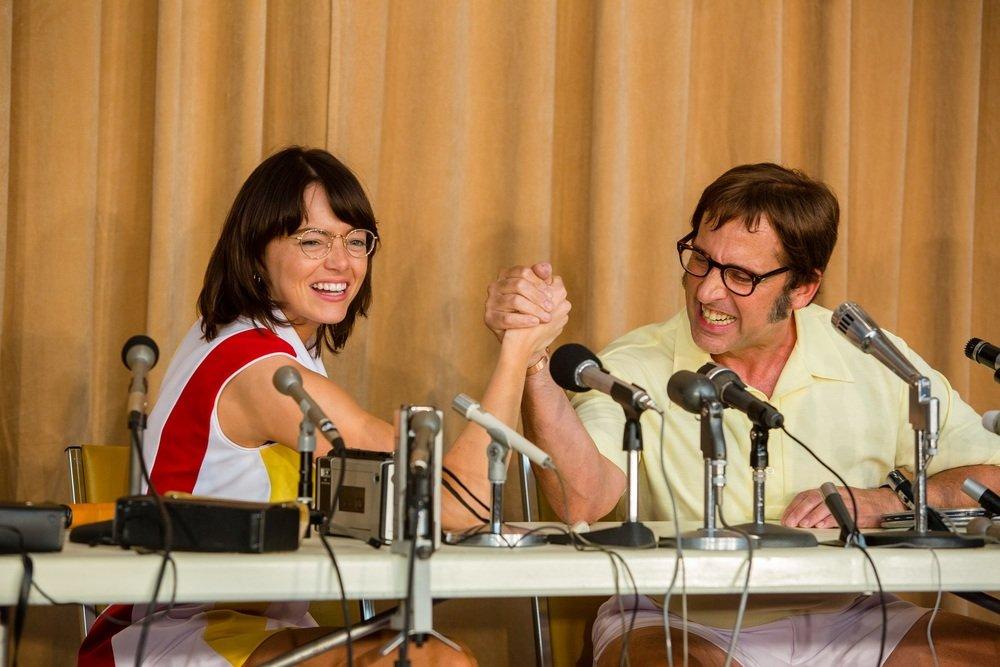 La battaglia dei sessi: Emma Stone e Steve Carell in una scena del film