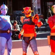 Roma 2017: gruppo di cosplayer sul red carpet di Mazinga Z Infinity