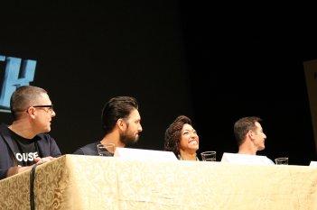 Lucca 2017: una foto di Sonequa Martin-Green, Jason Isaacs, Shazad Latif e Aaron Harberts al panel di Star Trekk Discovery