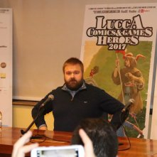Lucca 2017: uno scatto di Robert Kirkman all'incontro con la stampa