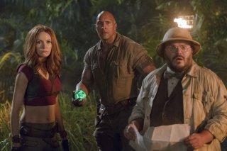 Jumanji - Benvenuti nella giungla: Karen Gillan, Dwayne Johnson e Jack Black in una scena del film