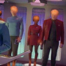 Black Mirror: Jesse Plemons, Cristin Milioti e Jimmi Simpson in una scena dell'episodio USS Callister