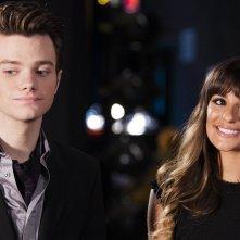 Glee: Chris Colfer e Lea Michele in una scena della serie