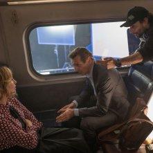 L'uomo sul treno - The Commuter: il regista Jaume Collet-Serra, Liam Neeson e Vera Farmiga sul set del film