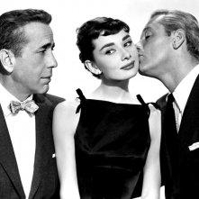 Sabrina: Audrey Hepburn, Humphrey Bogart e William Holden in un'immagine promozionale del film
