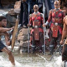 Black Panther: Chadwick Boseman e Michael B. Jordan in una foto del film